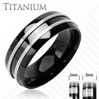 Zenith - Double Silver Stripe Black and Titanium Comfort-Fit Wedding Band. #BuyBlueSteel #MensWeddingRings