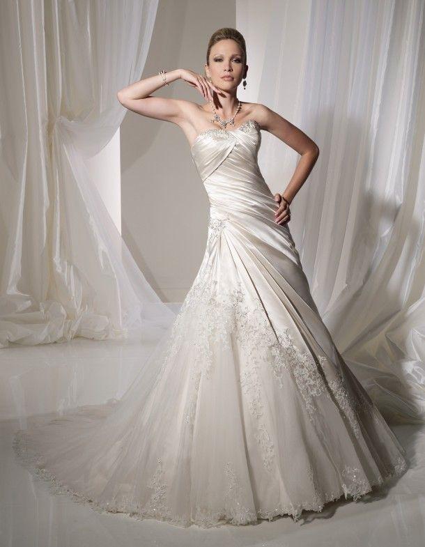 Asymmetrical Wedding Dress Strapless Court Train Satin - pictures ...