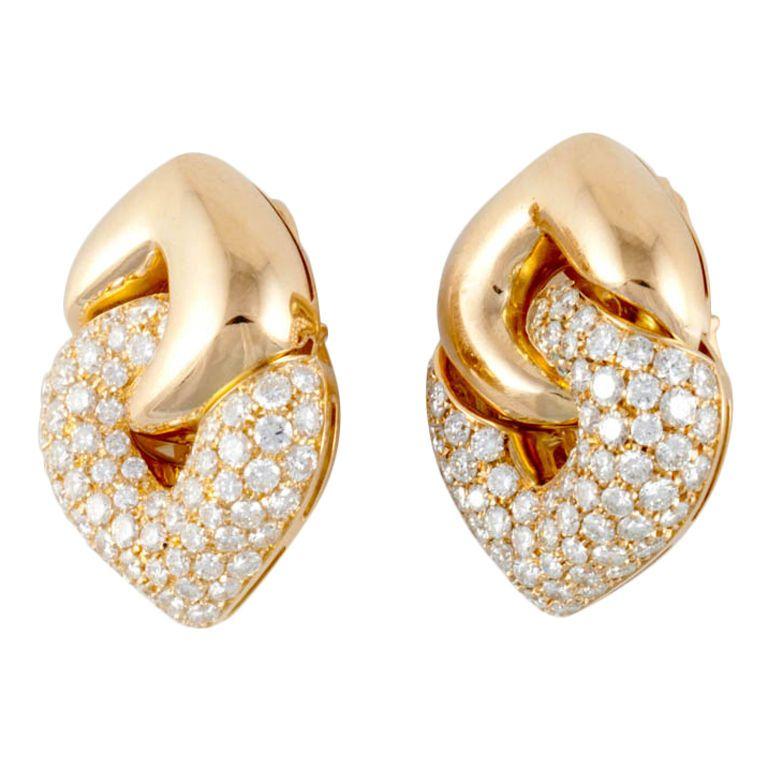 BULGARI Diamond Yellow Gold Earrings