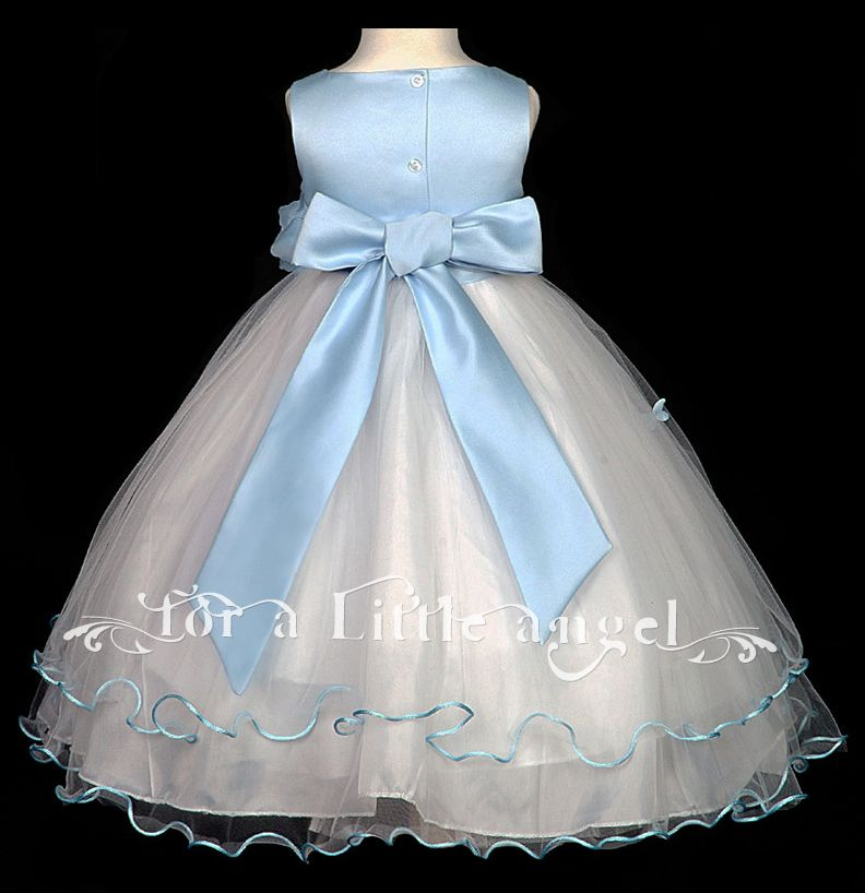 sky blue bridesmaid dresses | Sky Blue Baby Flower Girl Wedding Dress 600 Size XS | eBay