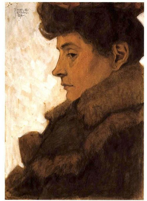 Portrait of Marie Schiele with Fur, Egon Schiele.