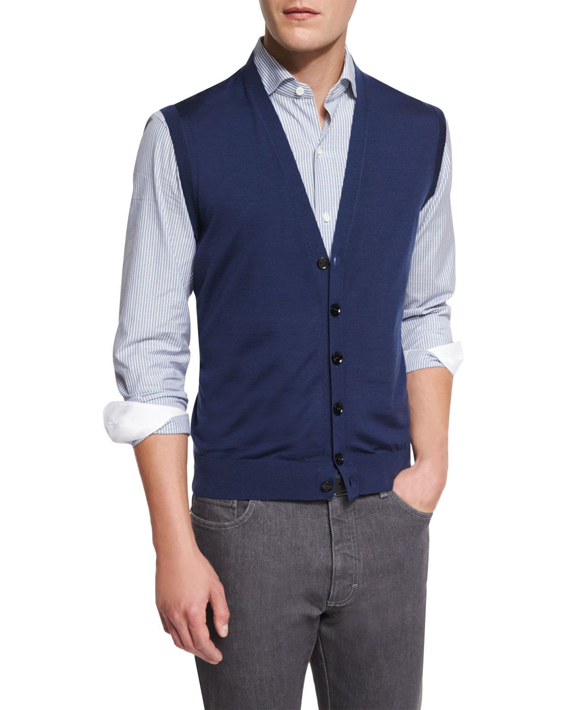 Wool Cardigan Vest, American Navy, Men's, Size: L - Ermenegildo ...