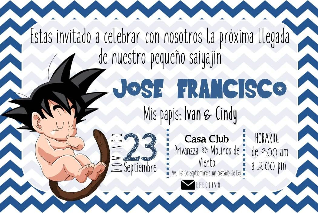 Tarjeta Para Baby Shower Goku Buscar Con Google Tarjetas