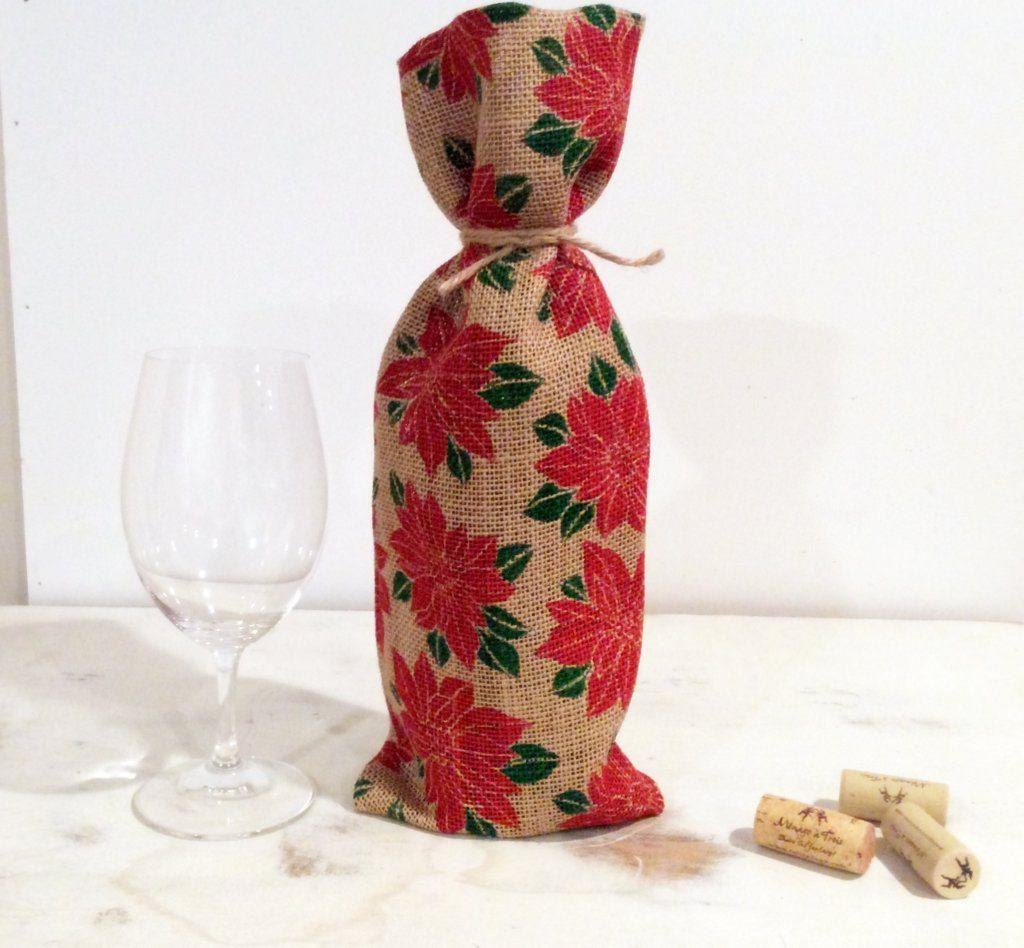Burlap Wine Bottle Bag Bold Red Pointsetta Motif Dark Hunter Green Leaves Jute Tie Bottle Bag Gift Bag Host Hostess Gift Wine Bottle Bag Bottle Bag Wine Bottle