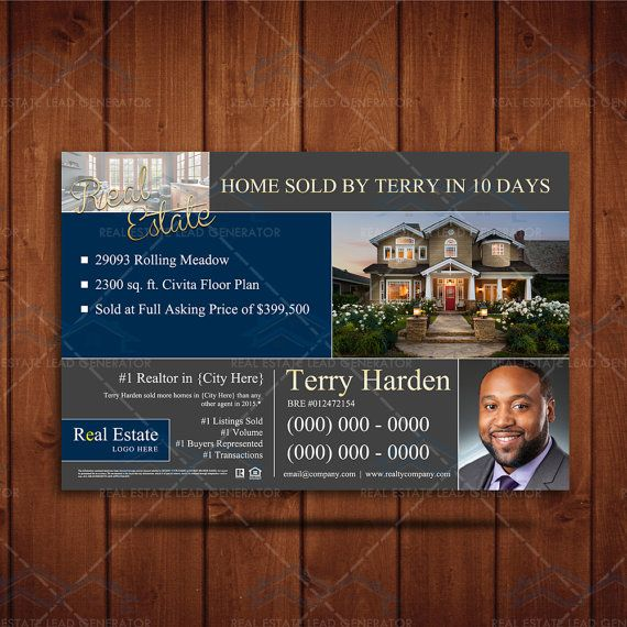 INSTANT DOWNLOAD - Realtor Branding Postcard, Real Estate Agent ...