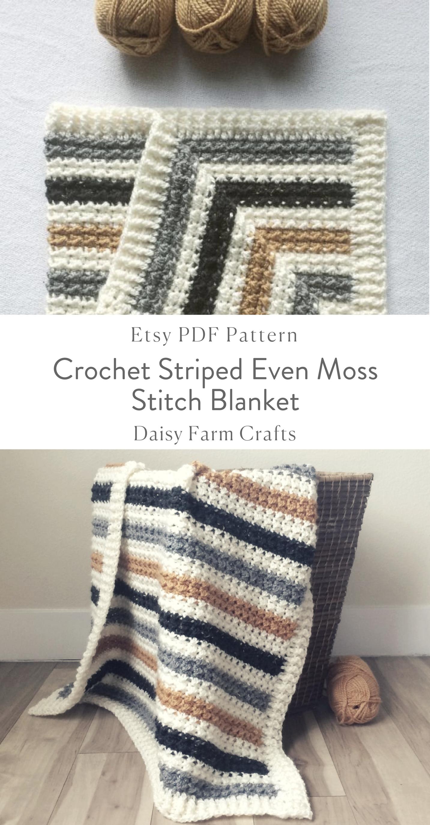 Crochet Striped Even Moss Stitch Blanket Pattern Crochet Etsy