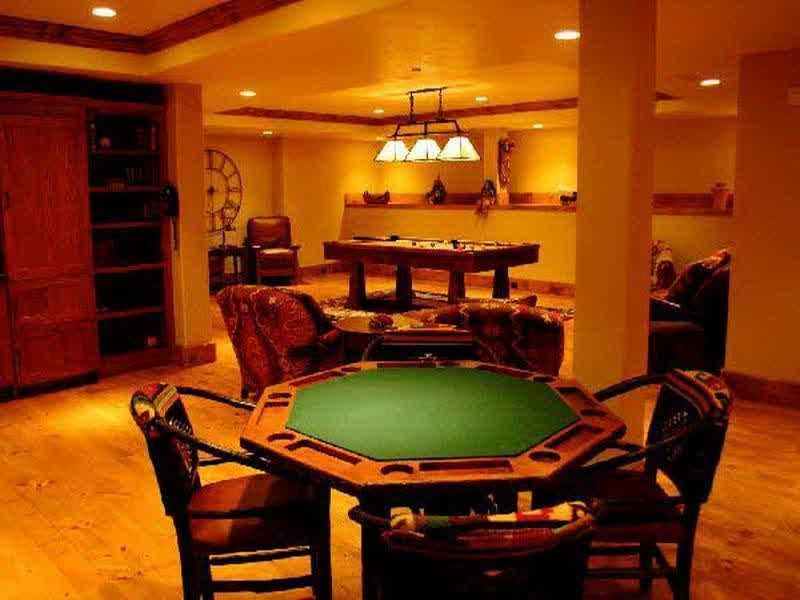 Living Room Card Board And Billiard Table In Big Home Game