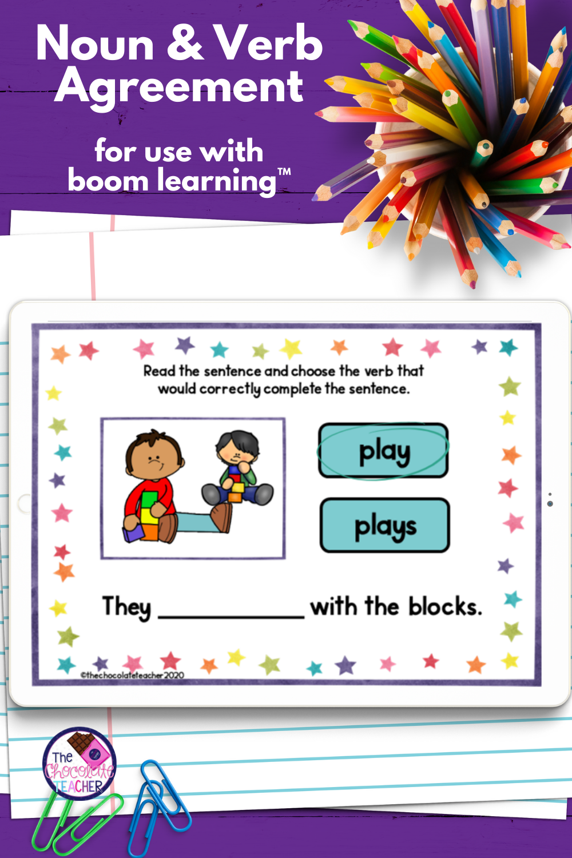 Noun Verb Agreement Digital Task Cards Common Core For First Grade Nouns And Verbs Nouns Grammar Task Cards [ 1500 x 1000 Pixel ]
