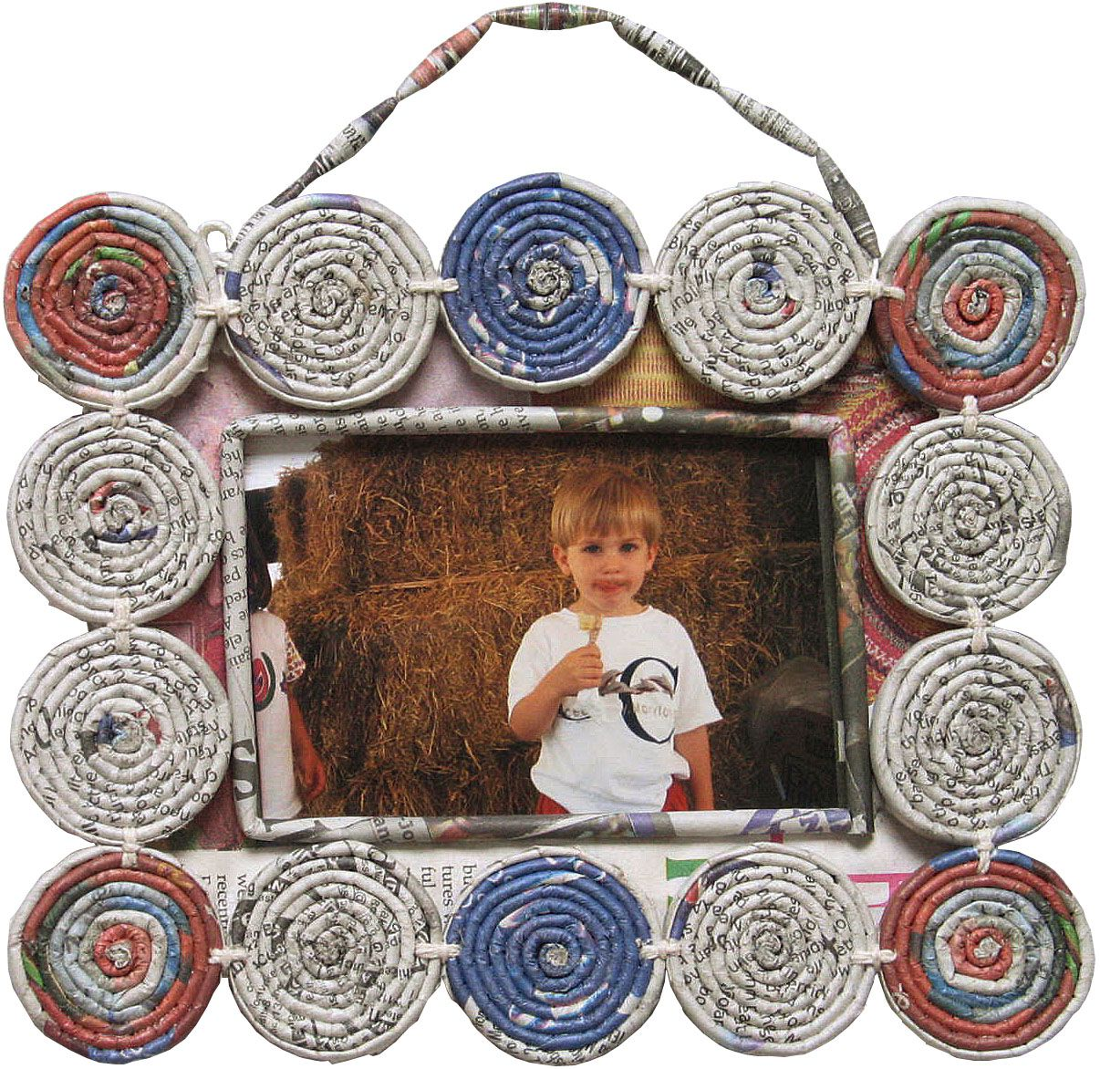 Recycle in style with this hand crafted frame made of coiled ...