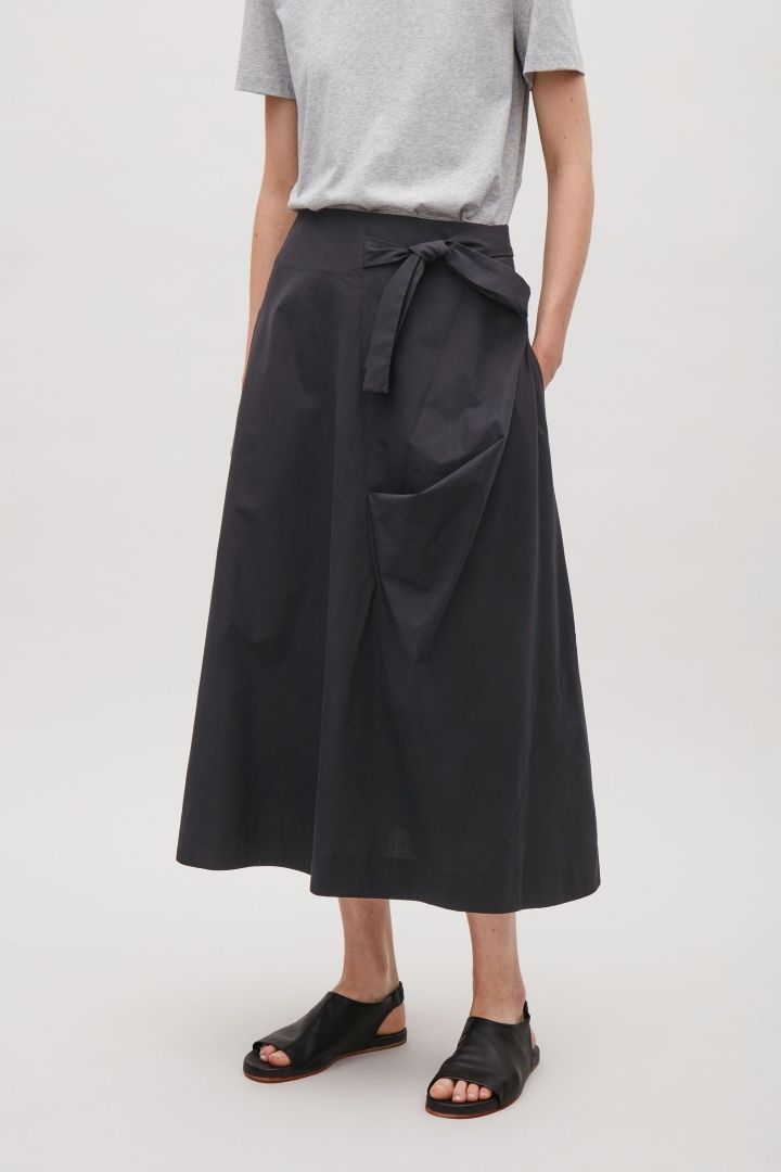 296165bddf1 COS image 2 of A-line wrap-over skirt in Black