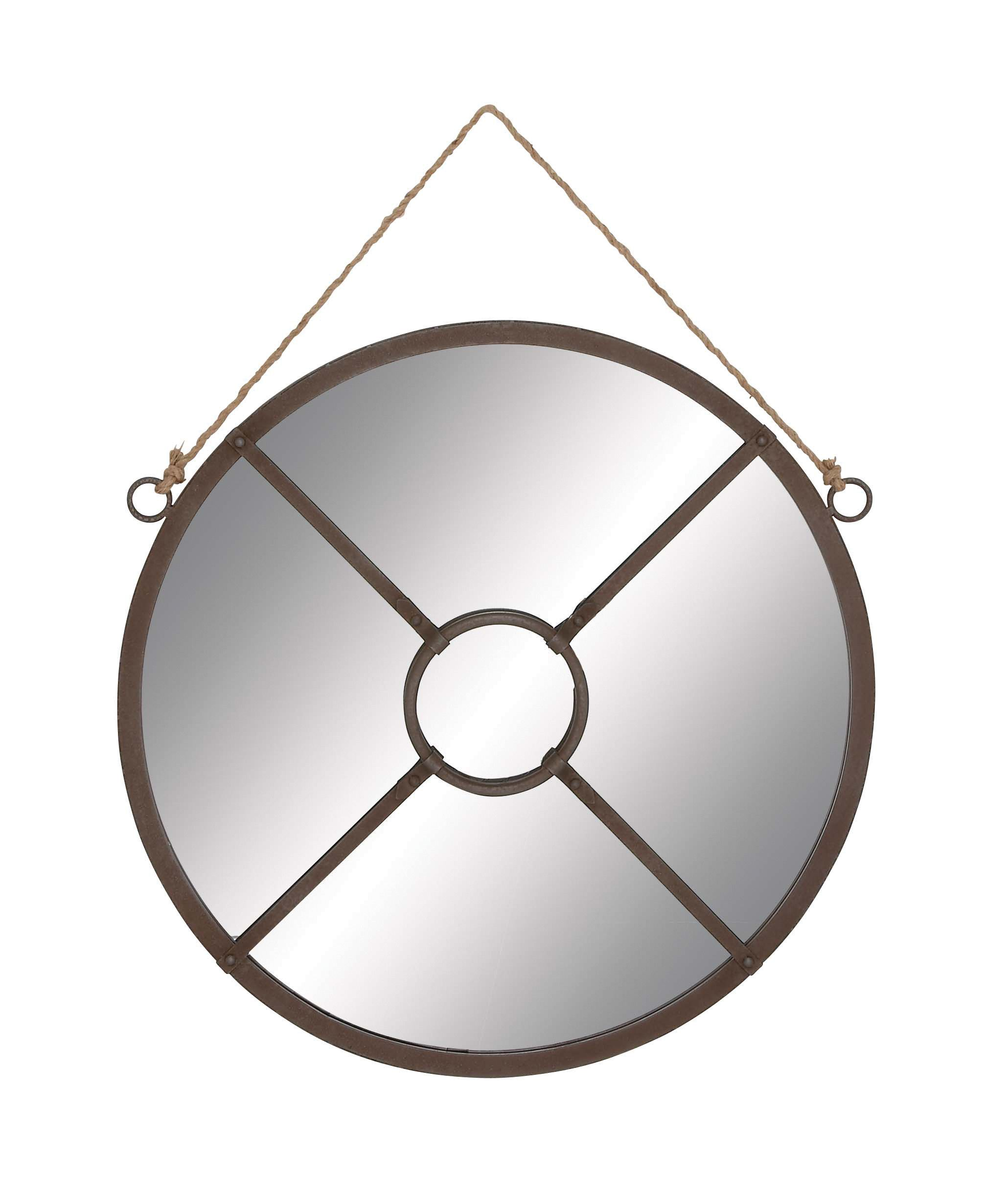 Round metal wall hanging mirror with rope attachment this elegant