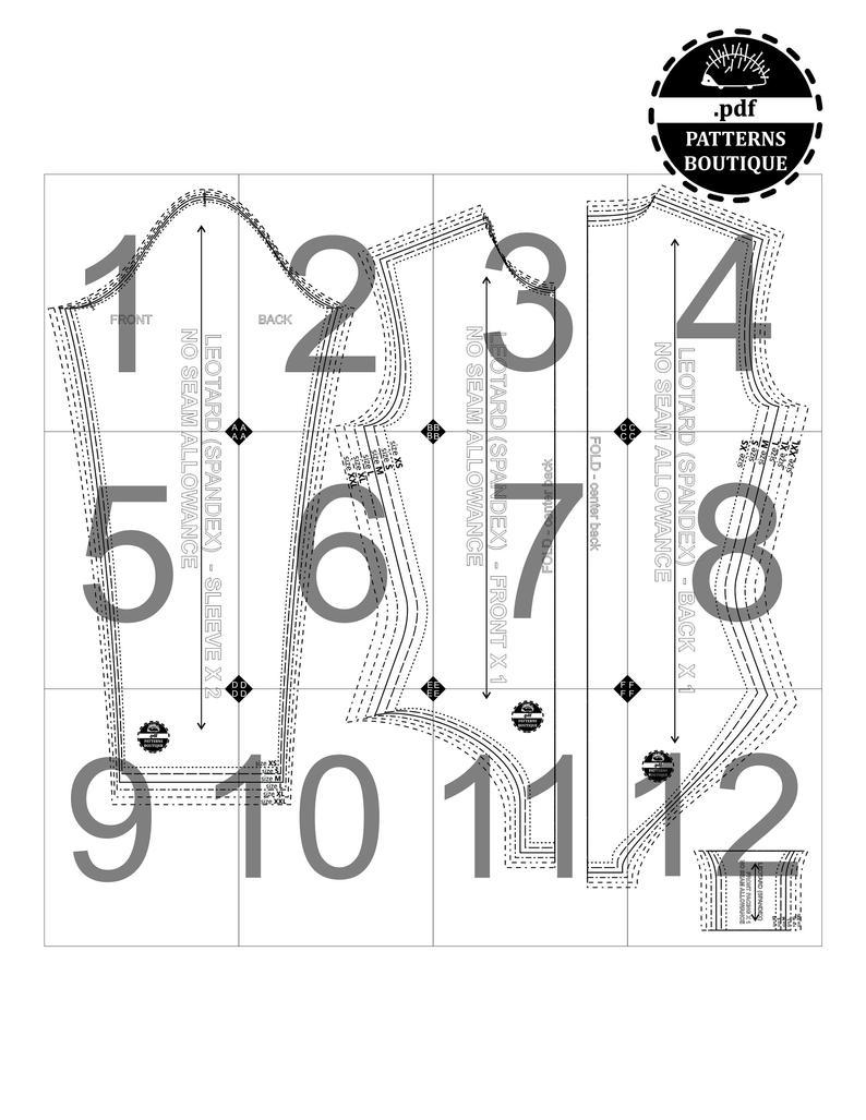 Basic LEOTARD Pattern BLOCK & SLEEVE for Knit Fabric