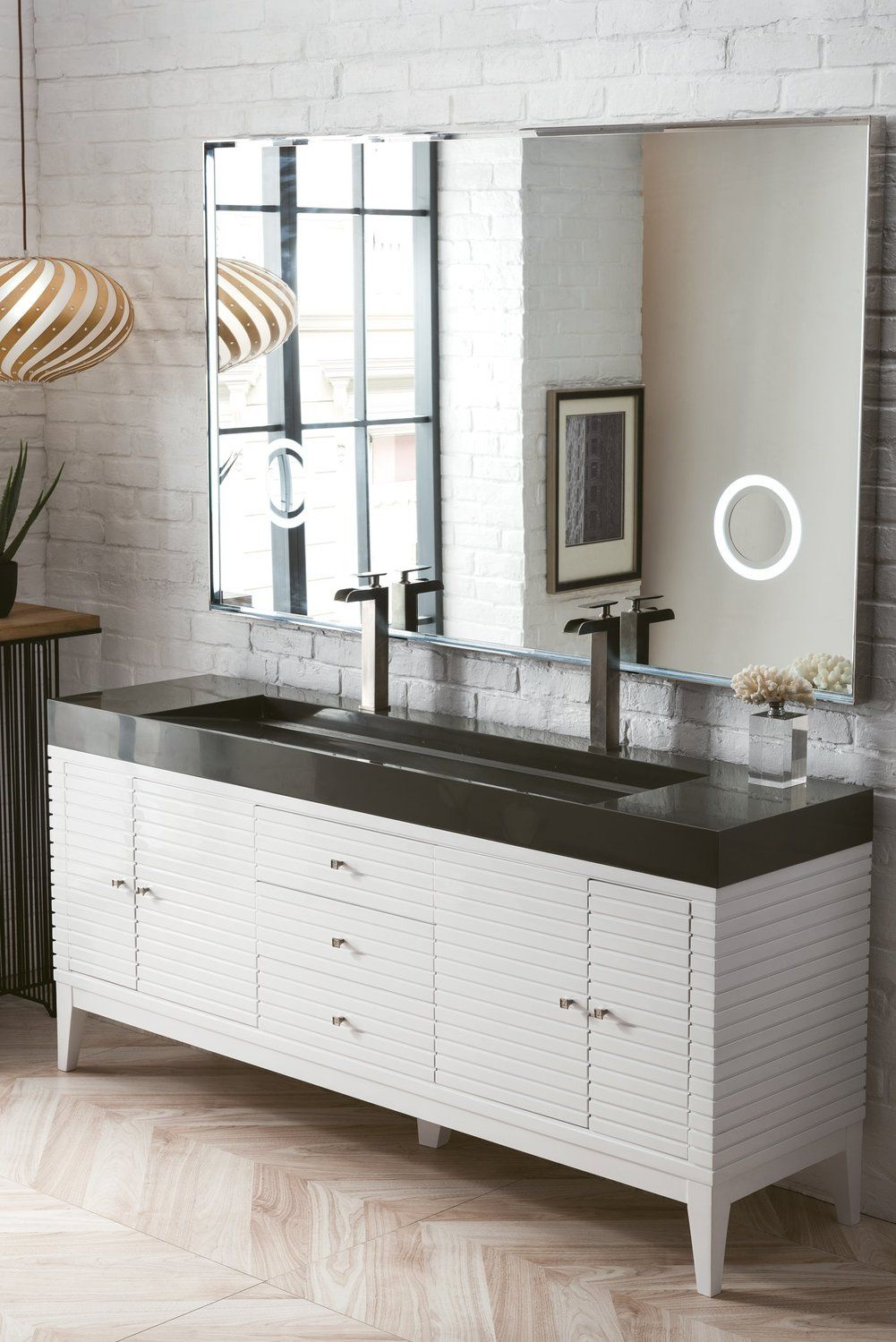 """72"""" Linear Double bathroom Vanity, Glossy White Double"""