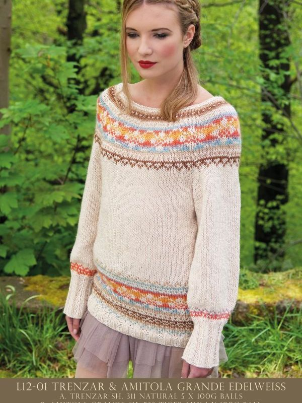 Edelweise - wide neck traditional Fair Isle sweater knitting ...