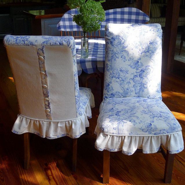 Blue Custom linen chair slipcovers by My Grandmother's Lace, via Flickr