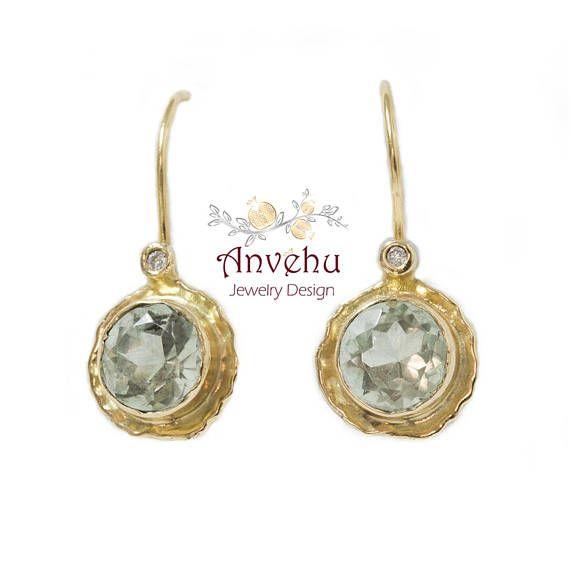 Solid Gold Earrings 14k 18k Dangle Diamonds