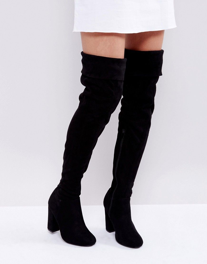 2cb898d147c Truffle Collection Block Heel Over Knee Boots - Black | 부츠 in 2019 ...
