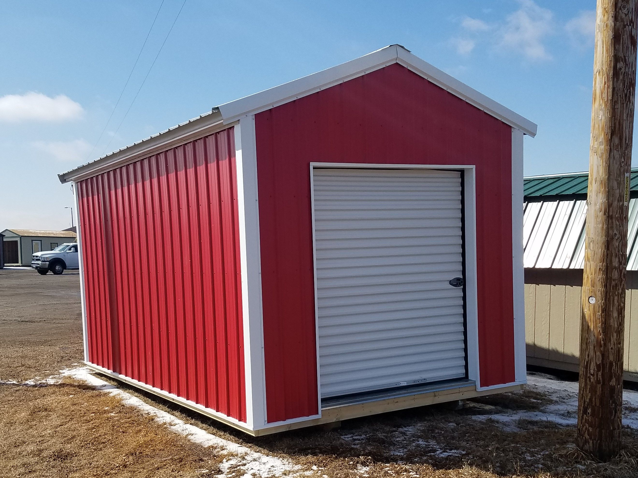 10x16 Utility Shed Built By Grandview Buildings White Metal Roof Trim Red Pole Barn Steel Siding 6 Roll Up Door R Roof Trim Barn Siding Steel Siding