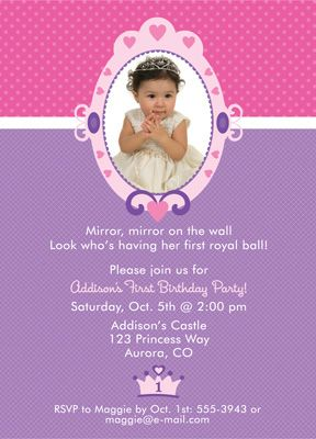 Image Detail For Princess First Birthday Invitation
