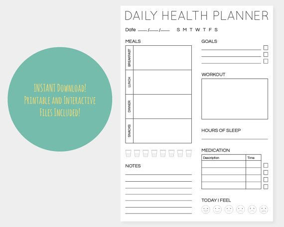 Daily Health Planner Minimal A4 Interactive and Printable Files