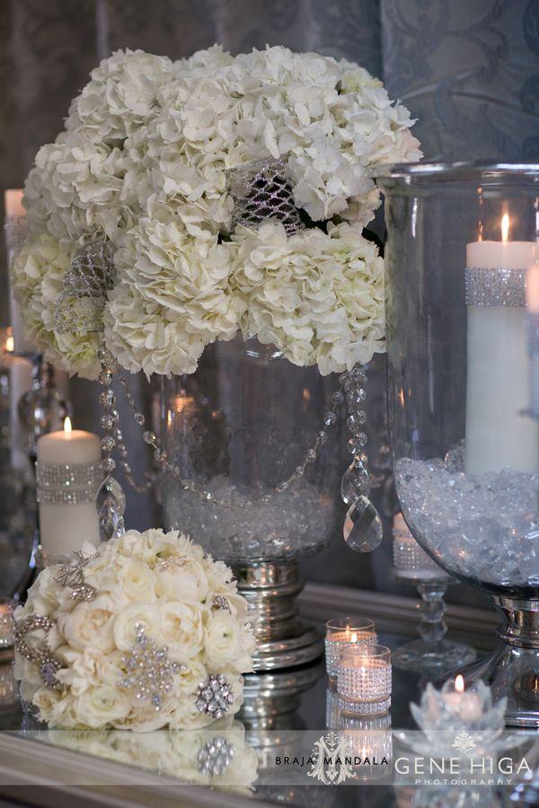 White sparkle crystal reception wedding flowers