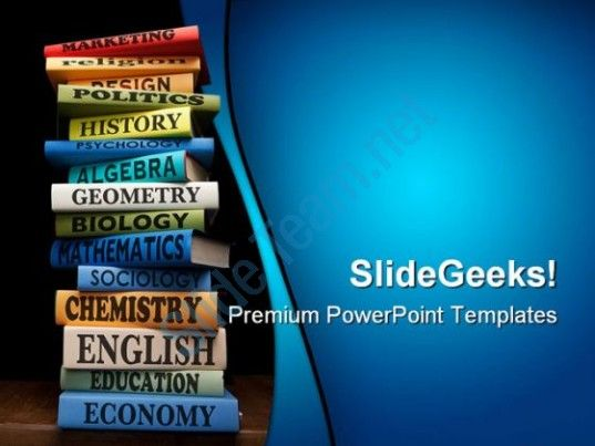 Books Of Different Subjects Education Powerpoint Templates And