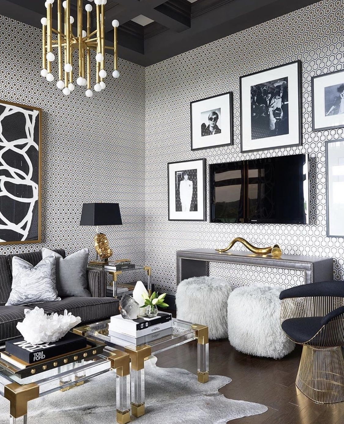 Stunning grey and gold living room decor with mitchell gold sofa