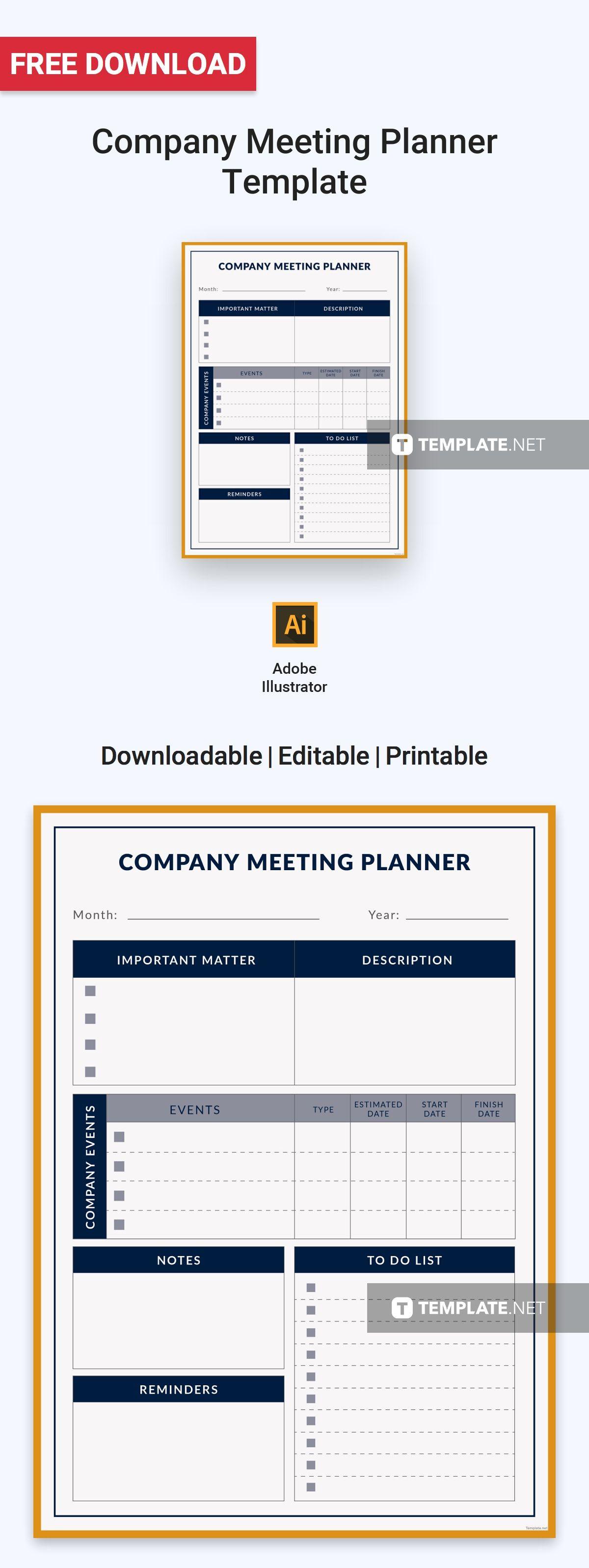 Free Company Meeting Planner Meeting planner, Planner