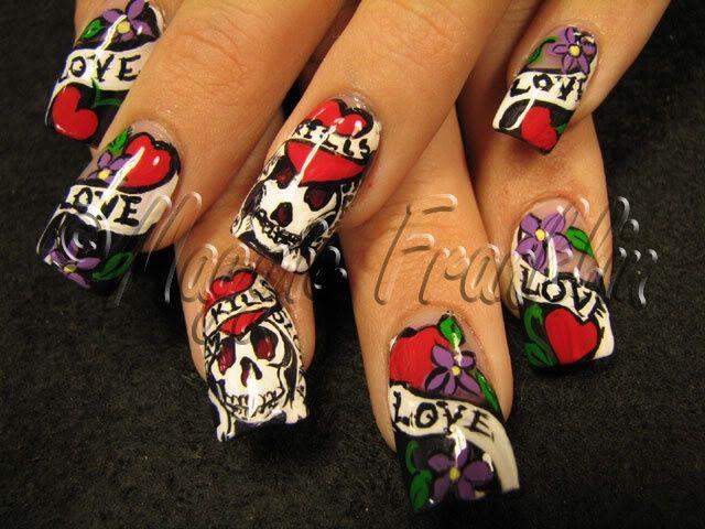 ed hardy nails design skull | Ed Hardy nail art-- hand painted | ed ...