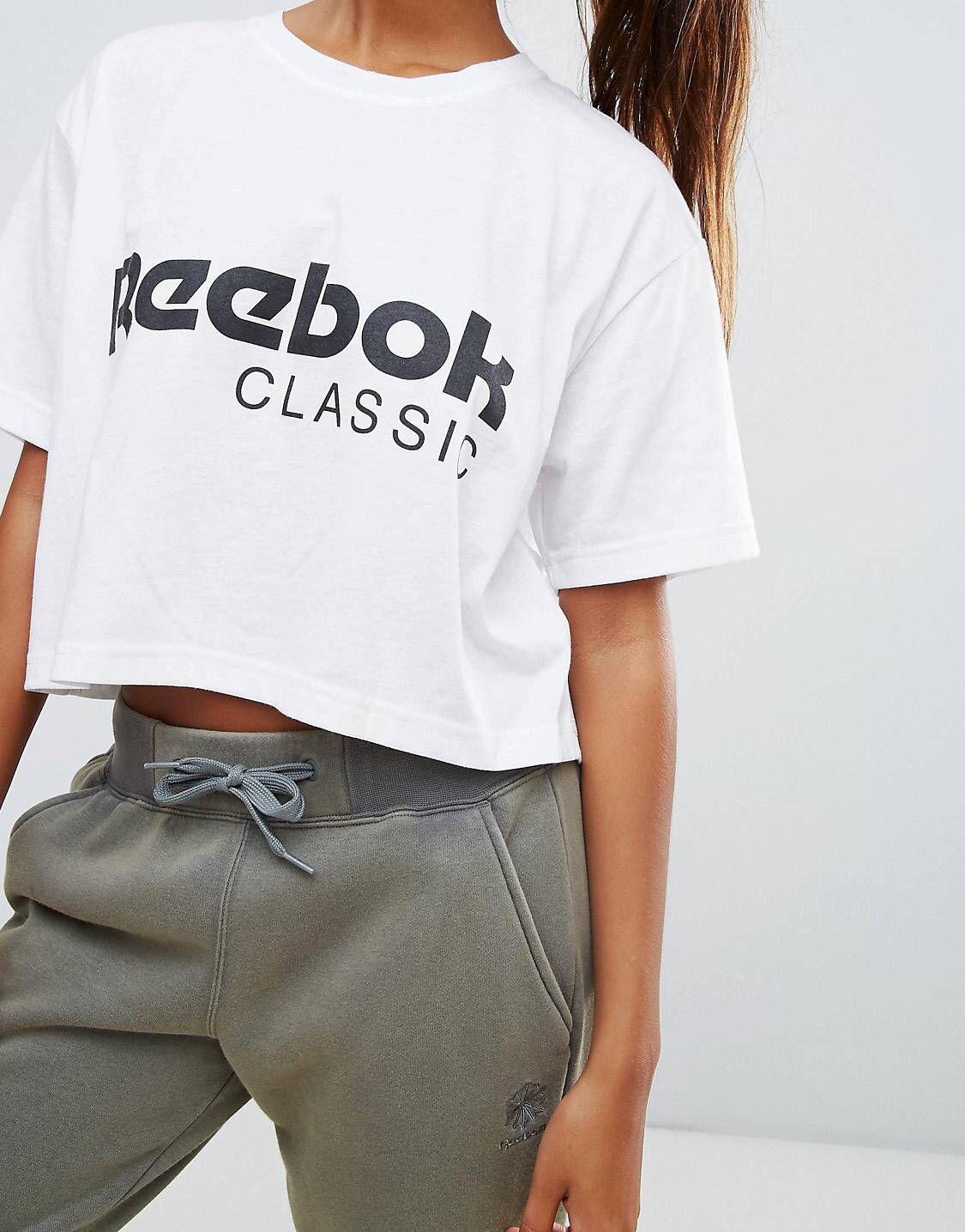 e611426a087a1 Reebok Classics Logo Cropped T-Shirt In White