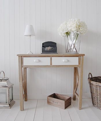 Hampton Console Table   Beach Style Hall  The White Lighthouse Furniture  Company