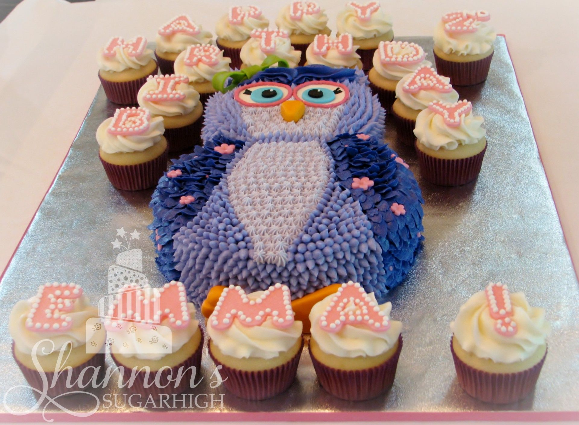 Girly Owl Cake with letter cupcakes. Cake is vanilla and ...