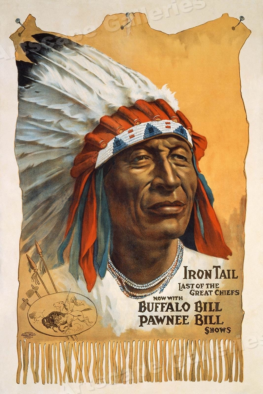 16x24 1912 Old West Show Indian Chief Poster Buffalo Bill Pawnee Bill