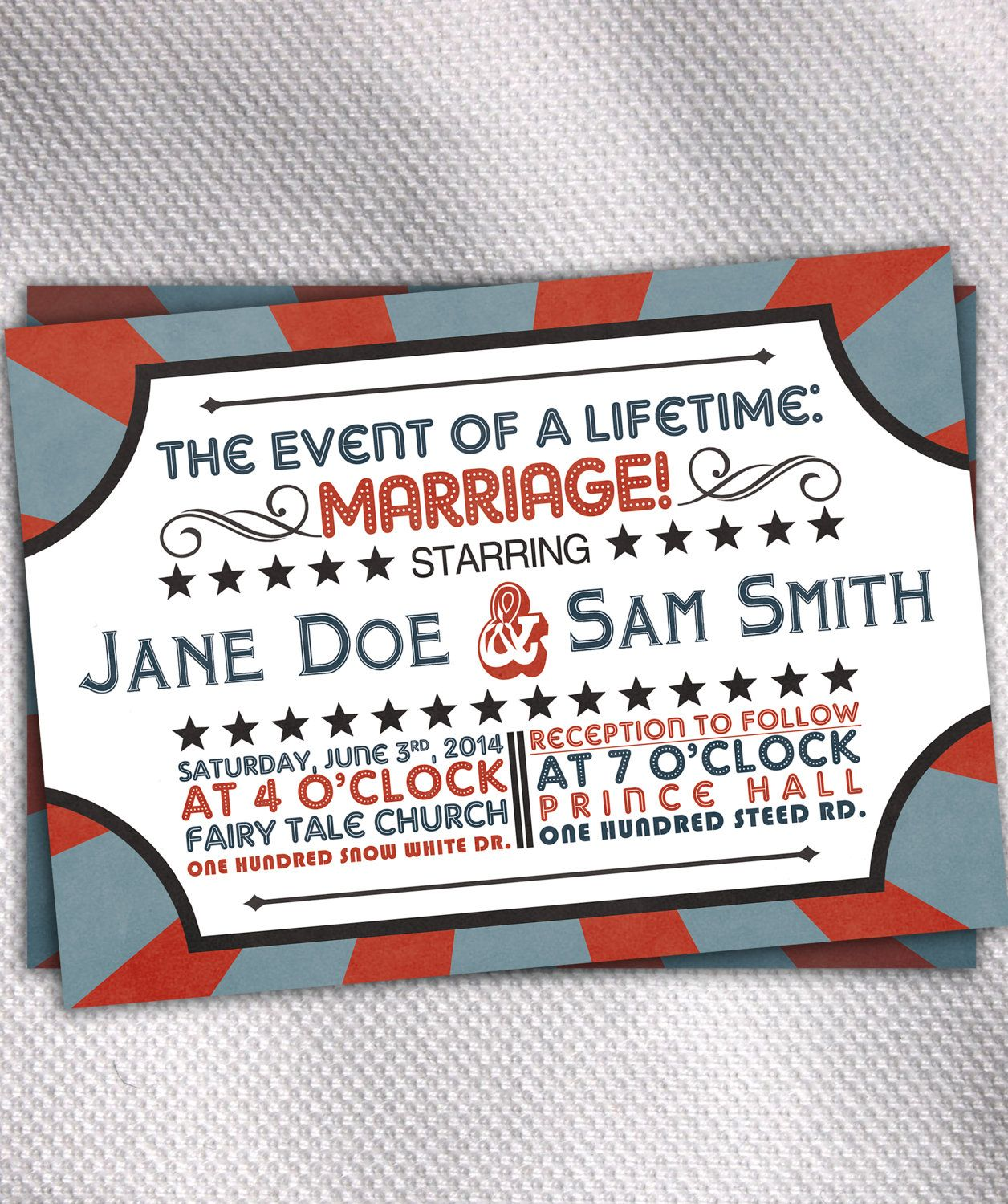Vintage Circus Theme Personalized Wedding Invitations & RSVP Cards ...