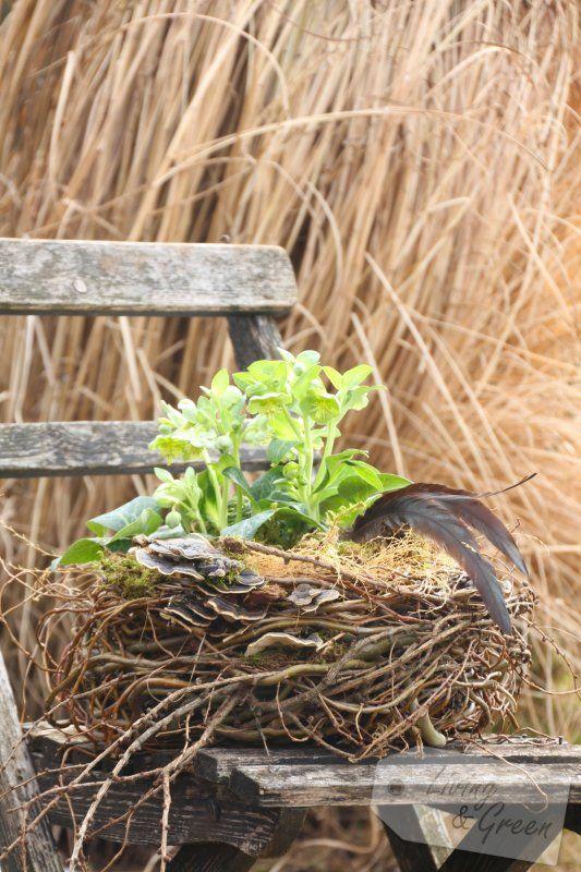 Vom Gartenschnitt zur Frühjahrsdeko - Nest aus Weide