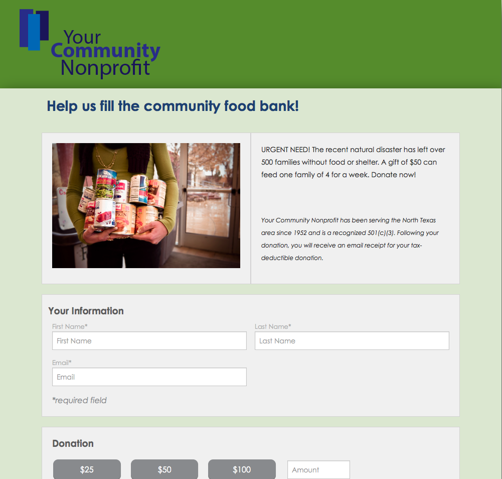 Donation Form Sample Visit HttpAplosComOnlineDonations To