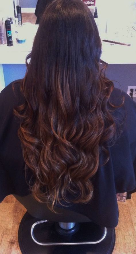 Caramel Ombre In My Dark Brown Hair With Images Balayage Hair
