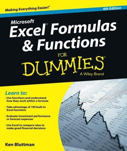 Excel Formulas and Functions For Dummies Ken Bluttman Imp Pinterest