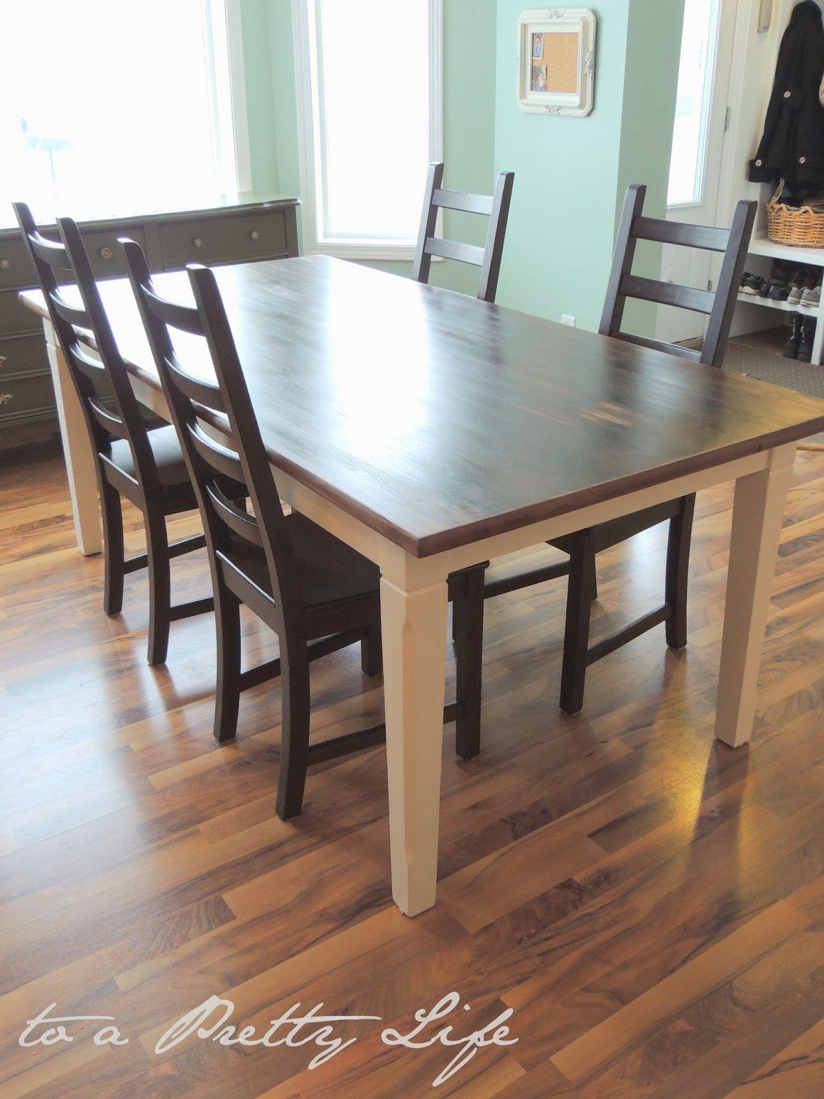 Diy Farmhouse Table Ikea Hack Via To A Pretty Life