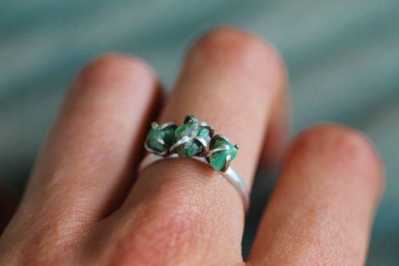 triple raw emerald sterling silver ring