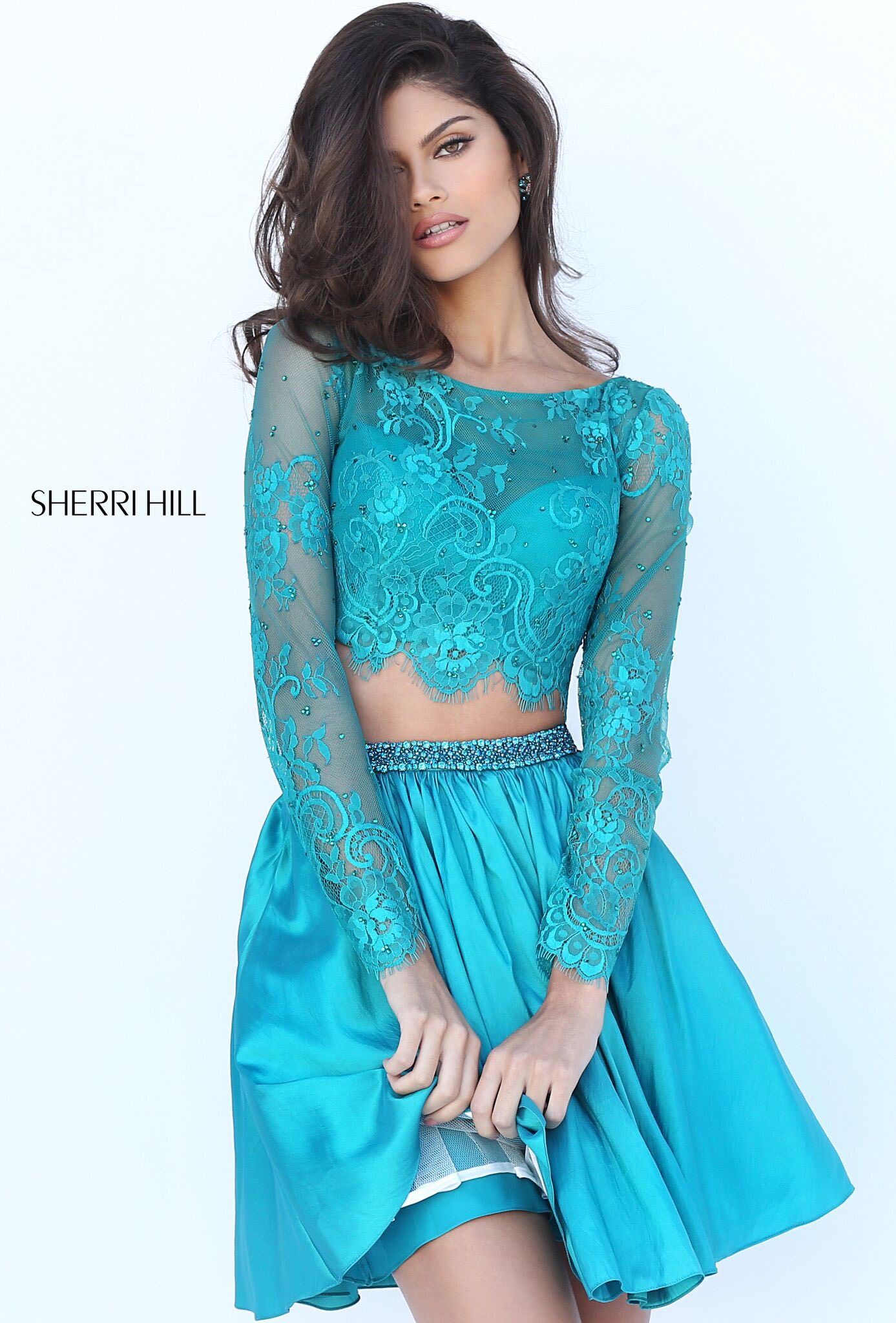 Teal Two Piece Prom Dress