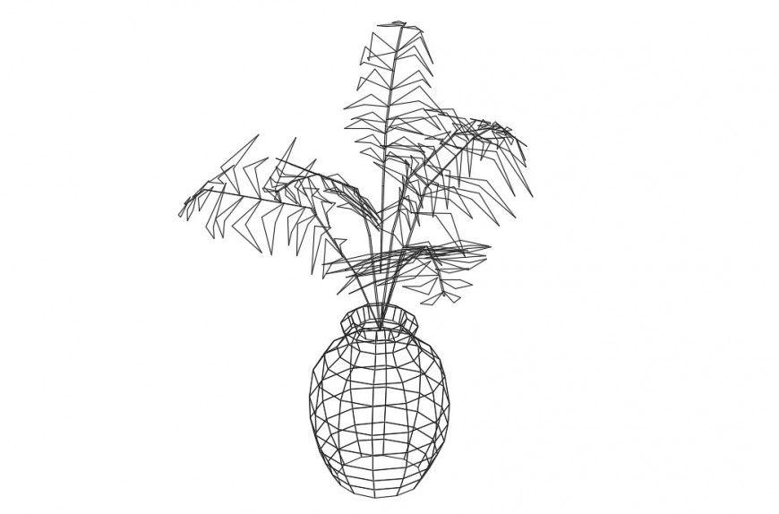 Beautiful 3d flower vase elevation block drawing details
