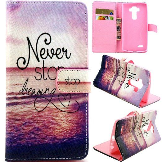 LG G4 Phone Case,LG G4 Wallet Case,Gift_Source Deluxe PU Leather Flip Case Flip Wallet Stand case with Card Slots for LG G4 Case -Never Stop Dreaming