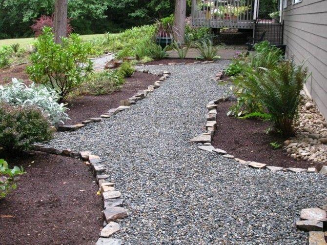 Interessantes Gartendesign Geschwungene Gartenwege Anlegen Kies Steine Grune Pflanzen Garten Garten Design Gartenweg
