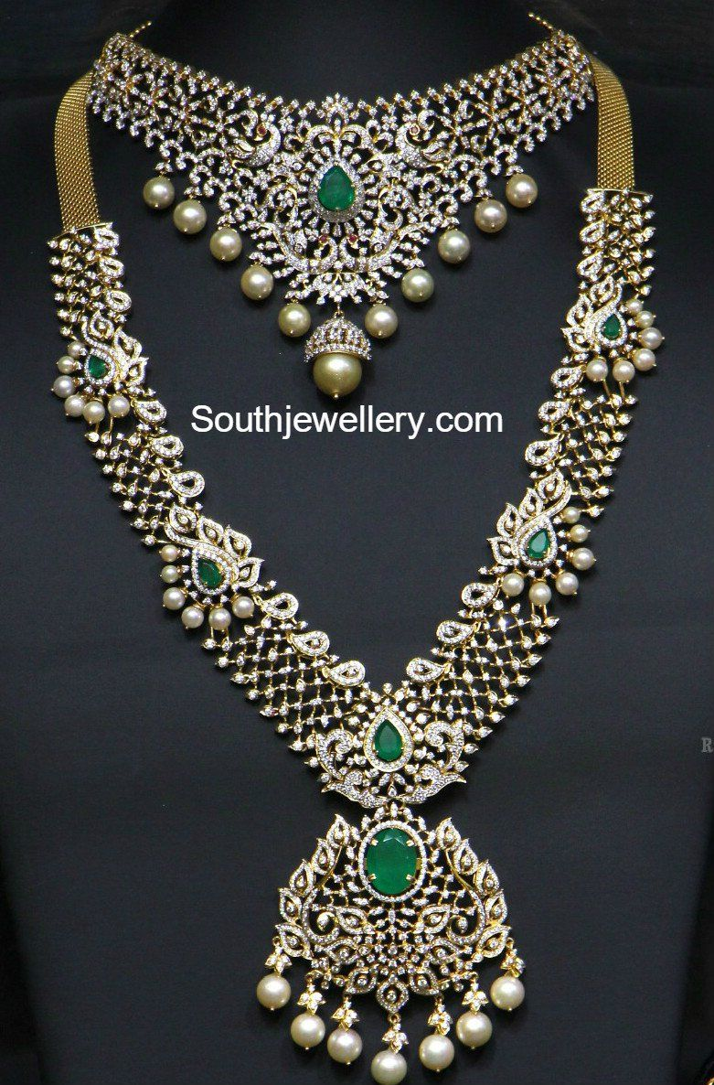 pin indian necklace designs set models diamond bridal