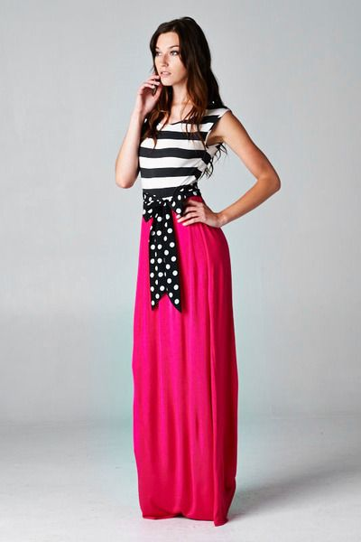 4f62d5c0bde Stripe   Solid Contrast Maxi with Polka Dot Belt!! Black White Striped and  Fuchsia Contrast Maxi with Polka Dot belt bow. Made in the USA!!