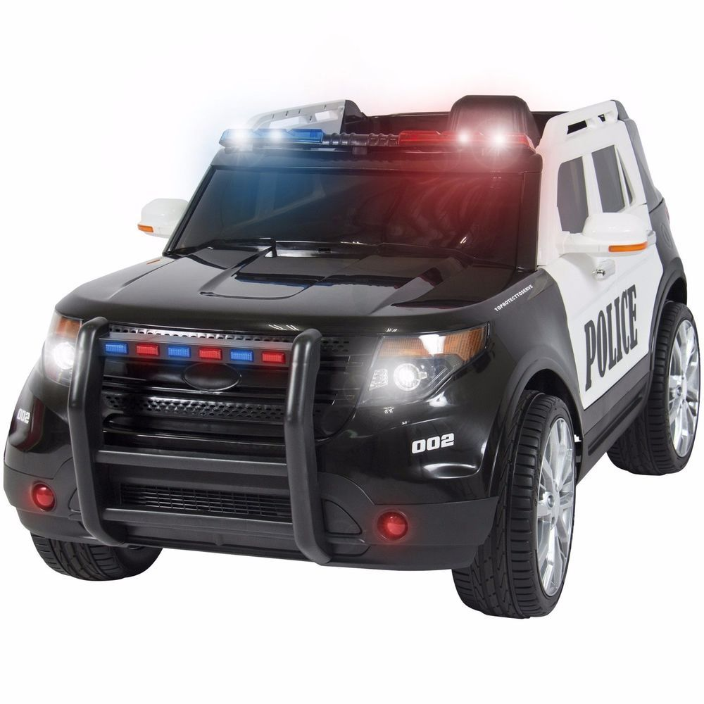 12V Ride On POLICE Car W/ Remote Control, 2 Speeds, LED