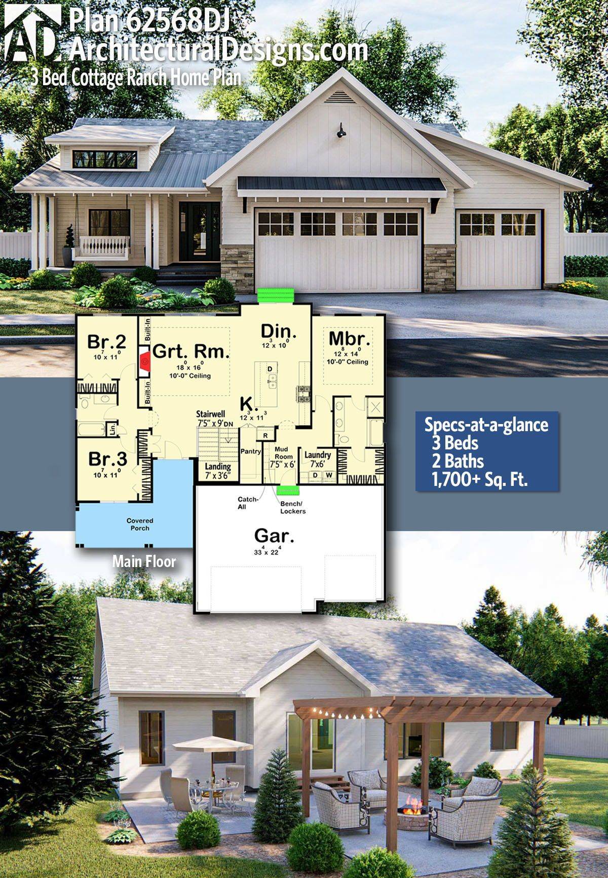 Plan 62568dj 3 Bed Cottage Ranch Home Plan In 2020 Ranch House Plans House Plans House Plans Farmhouse