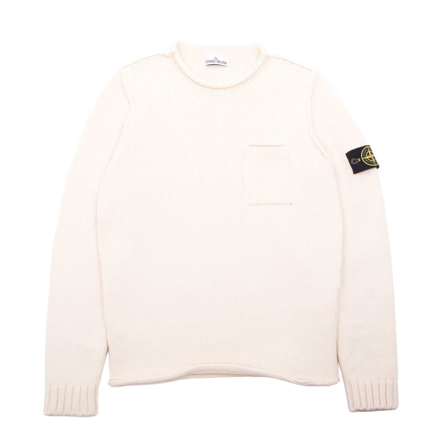 Classic Stone Island Roll Collar Knit Sweater Features A Premium