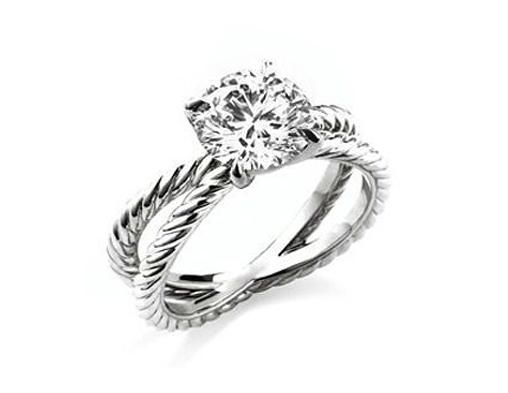 David Yurman Crossover Platinum Diamond Engagement Ring 102ct